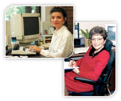 People with disabilities in workplace settings receiving needed accommodations.
