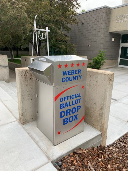 Image of outdoor ballot drop box in Weber County, UT.